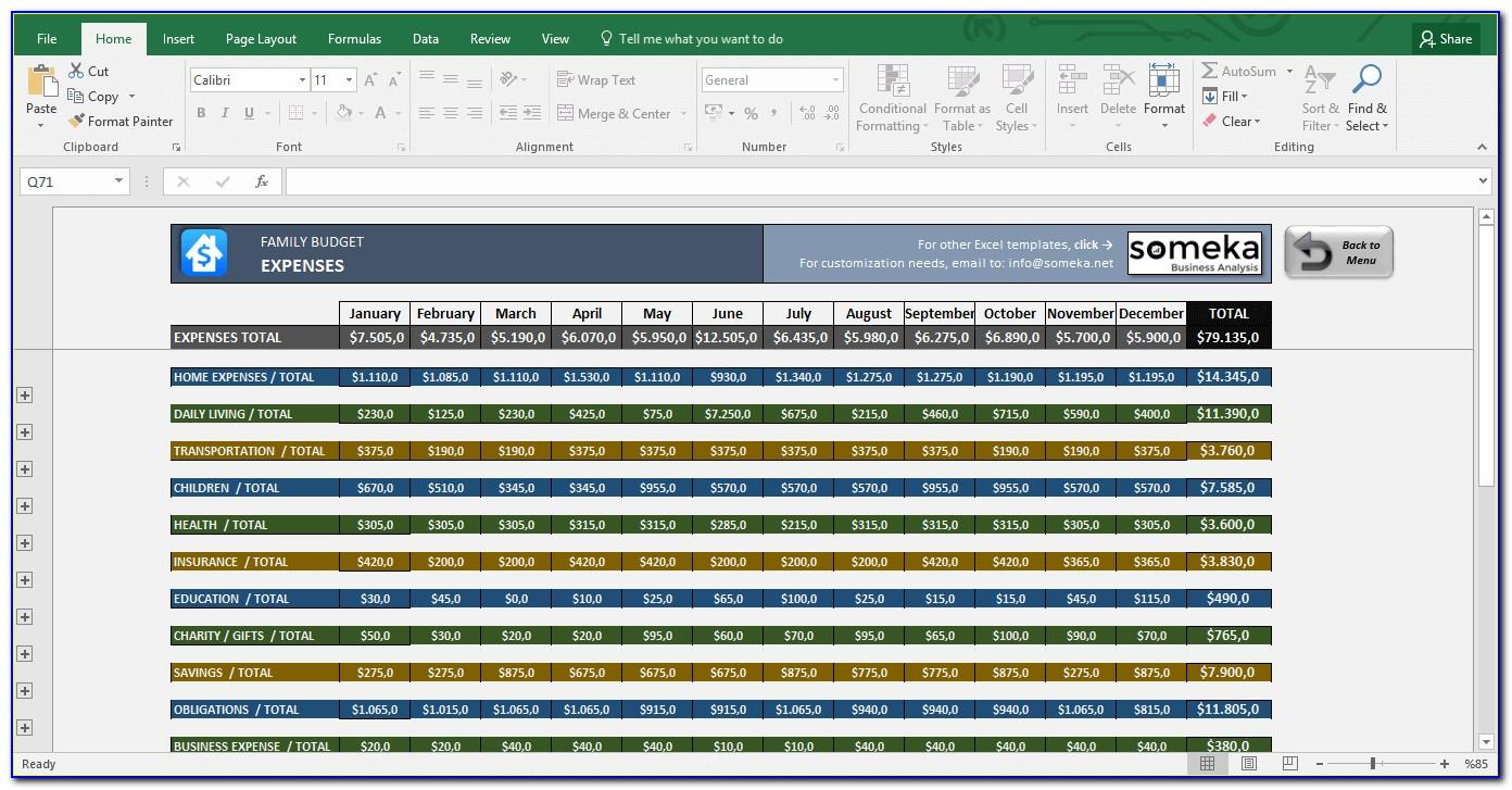 Excel Templates For Household Budget