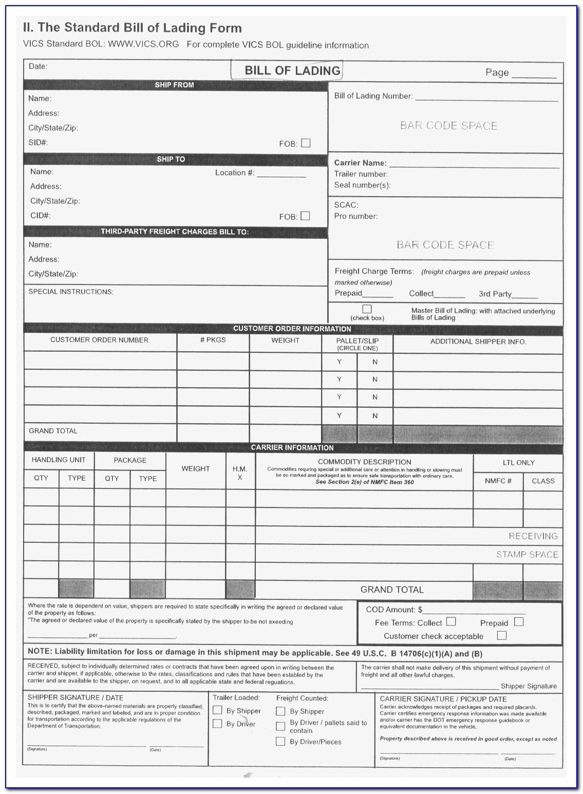 Fedex Freight Bill Of Lading Sample