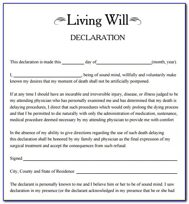 Form For Living Wills