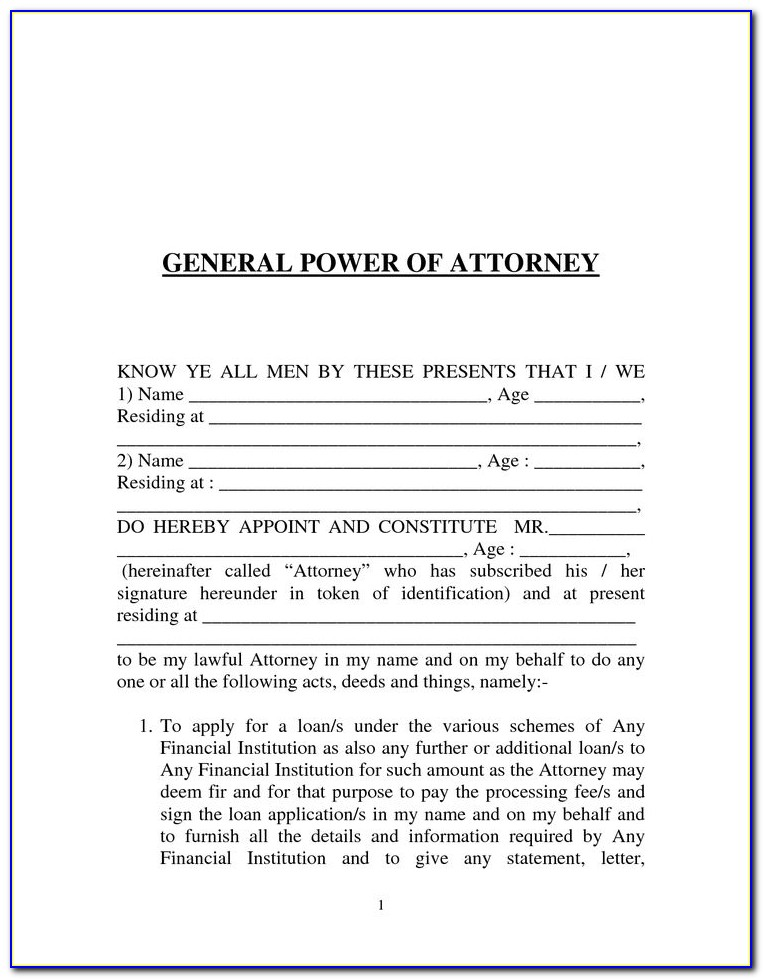 Form For Ordinary Power Of Attorney Uk