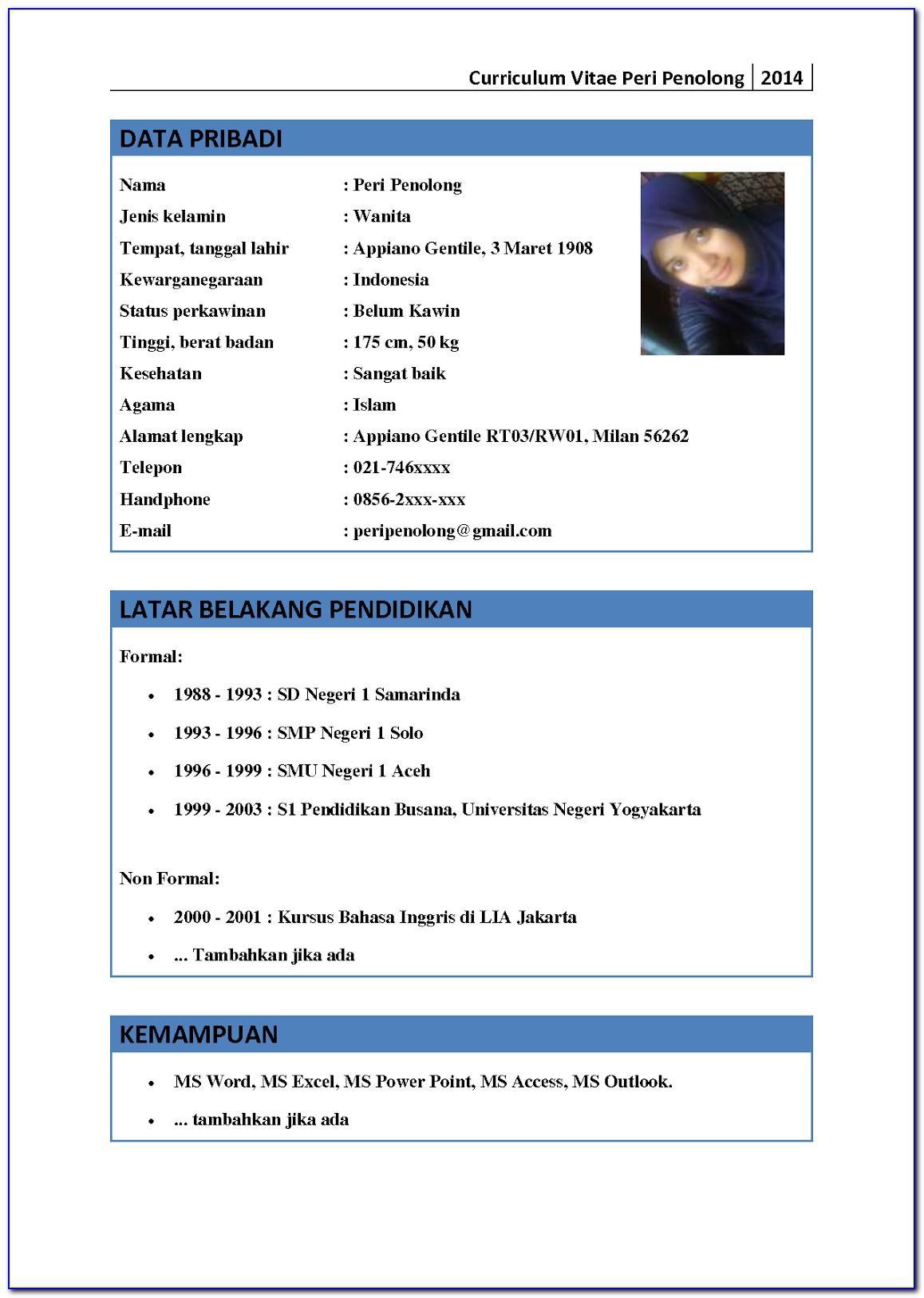 Format Curriculum Vitae Bahasa Indonesia