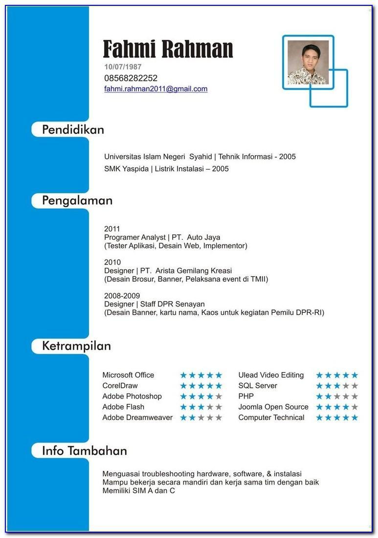 Format Curriculum Vitae Indonesia Pdf