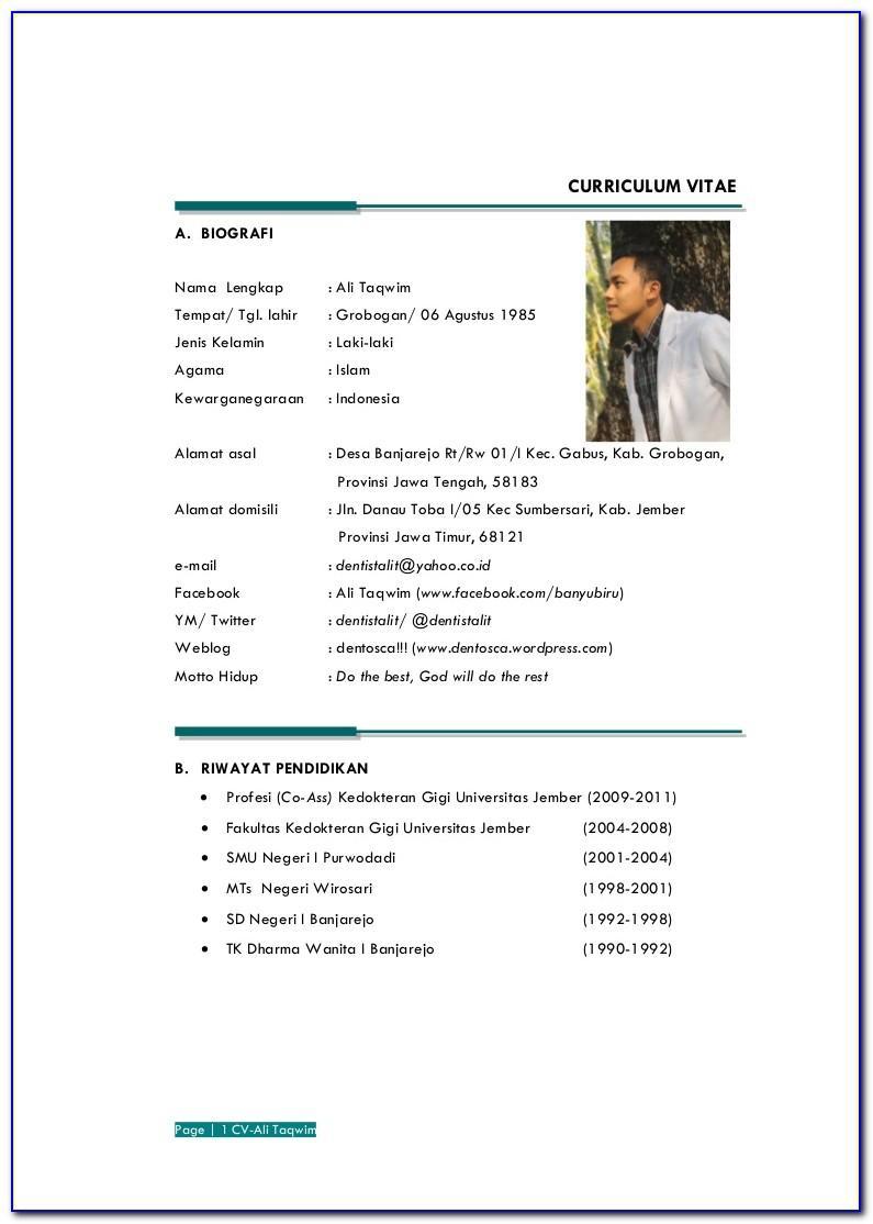 Format Curriculum Vitae Word Indonesia