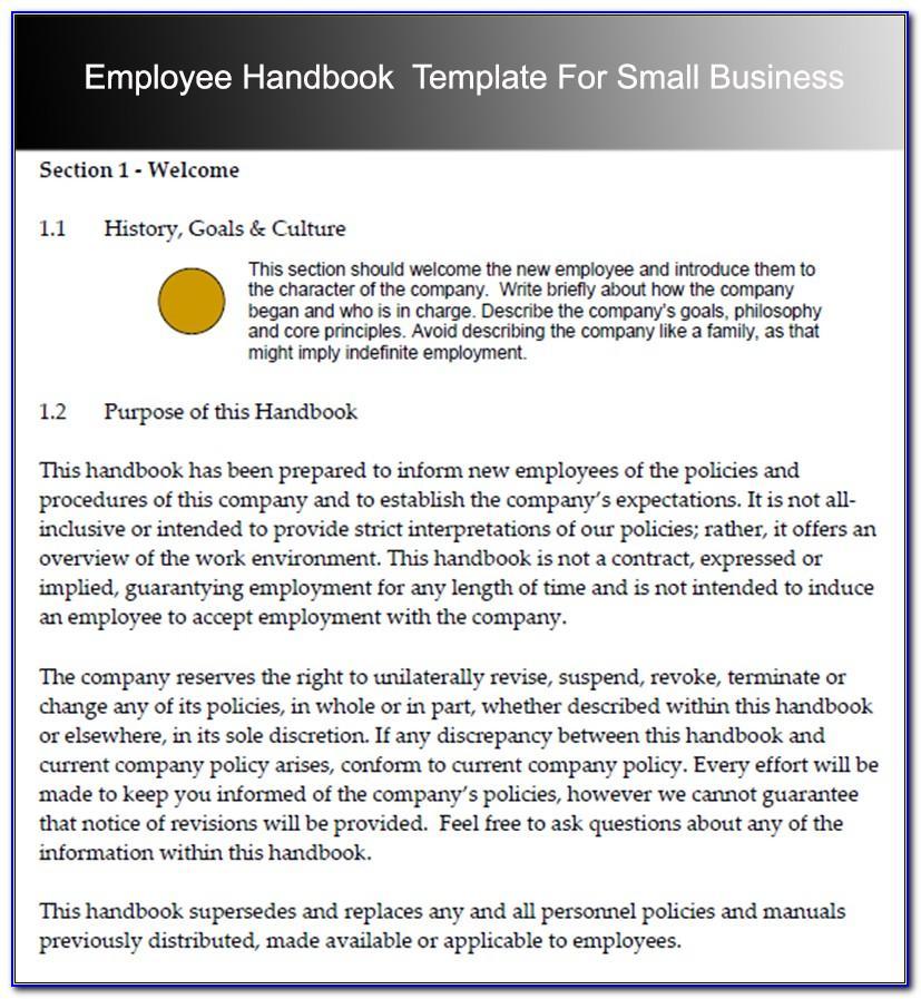 Format For Employee Handbook