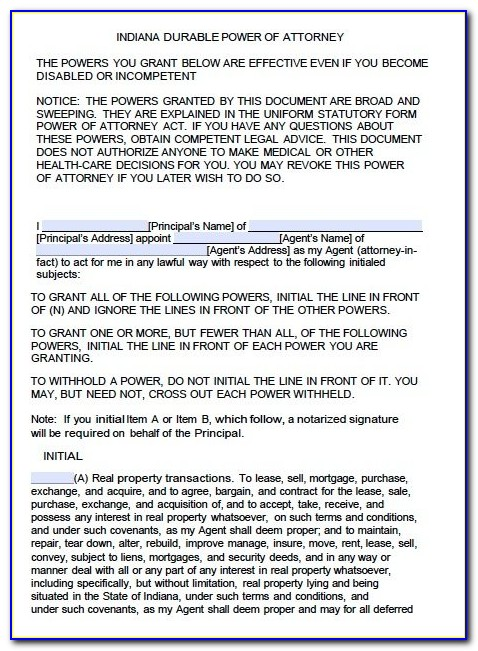 Forms For Power Of Attorney In Indiana