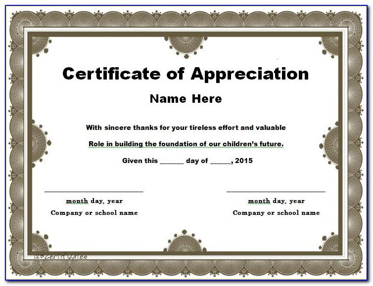 Free Download Templates For Certificates Of Appreciation