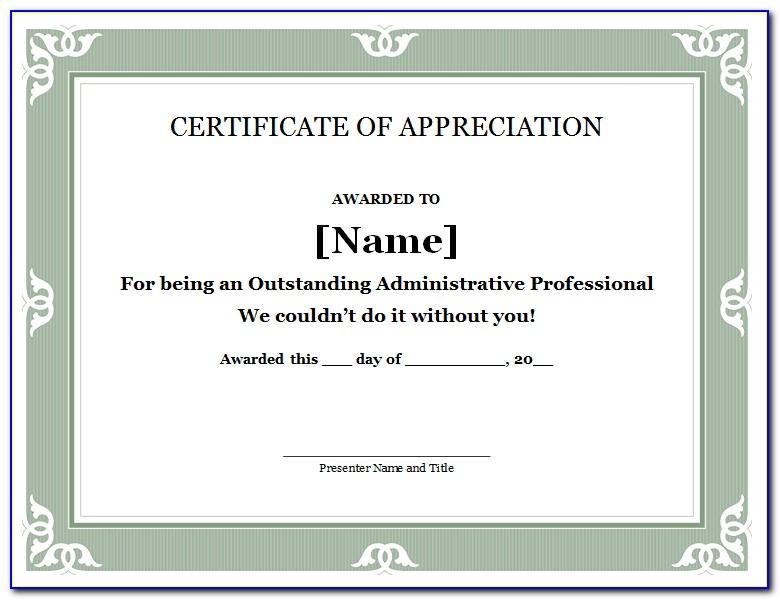Free Editable Template For Certificate Of Appreciation