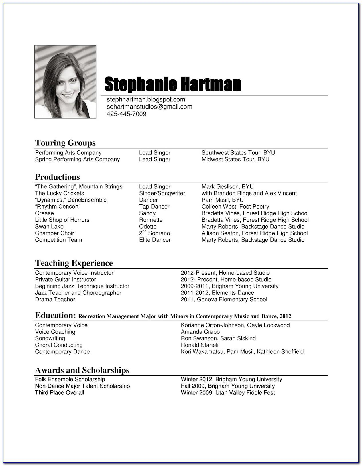 Free Music Resume Templates