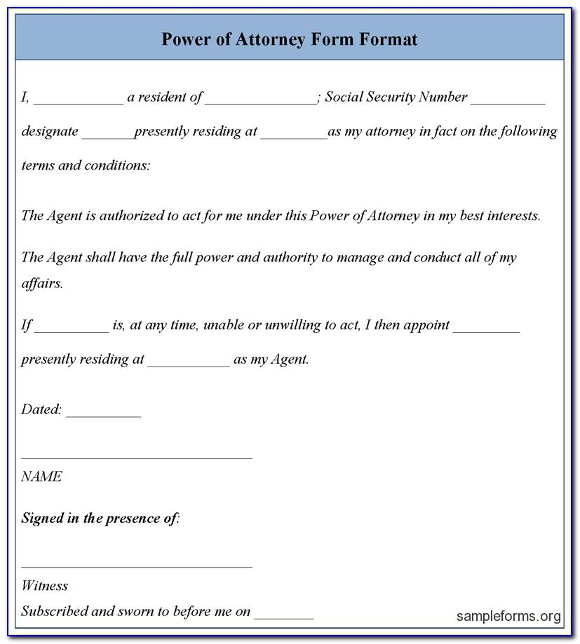 Free Ordinary Power Of Attorney Form Template