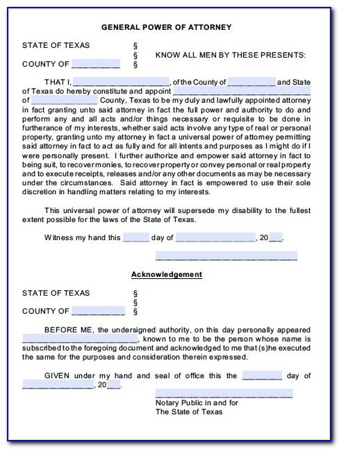 Free Power Of Attorney Form Template Uk