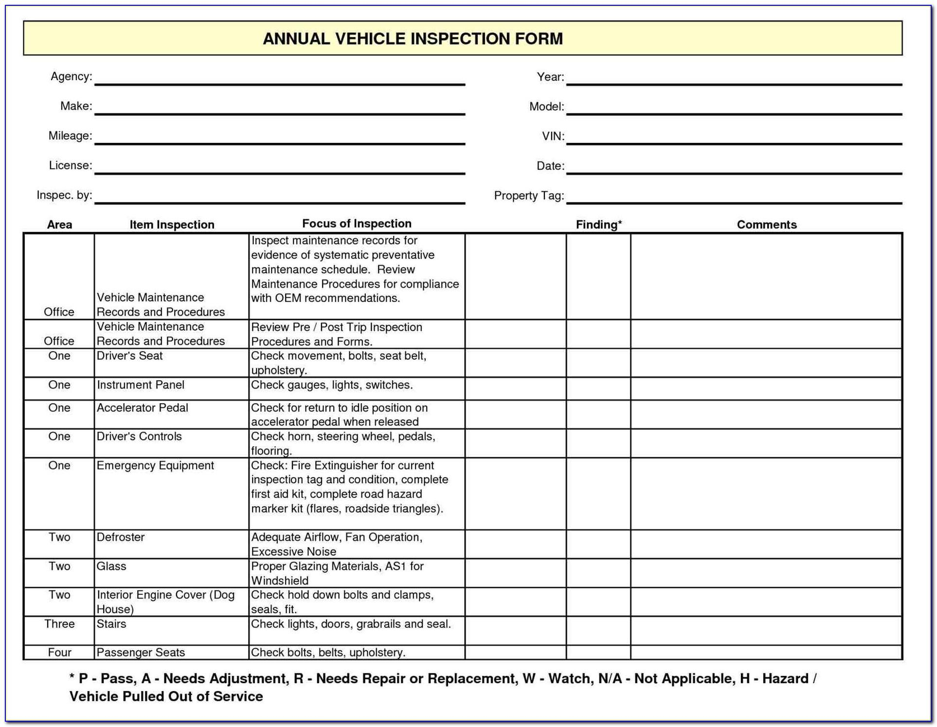 Free Printable Driver Vehicle Inspection Report Form