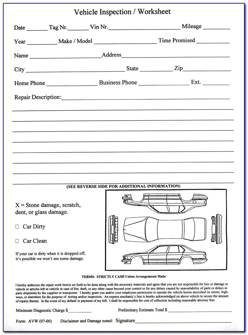 Free Printable Vehicle Inspection Sheets