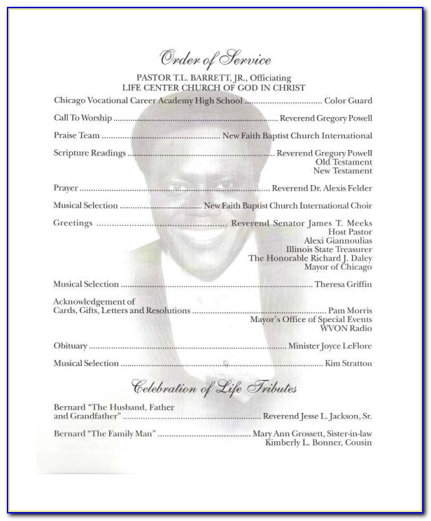 Free Template For Obituary Program