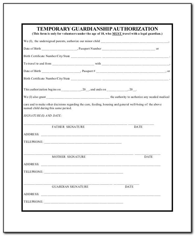 Free Temporary Guardianship Forms Michigan
