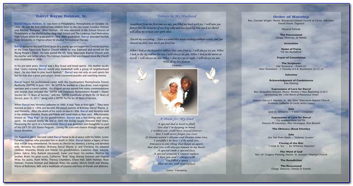 Free Tri Fold Obituary Templates Download