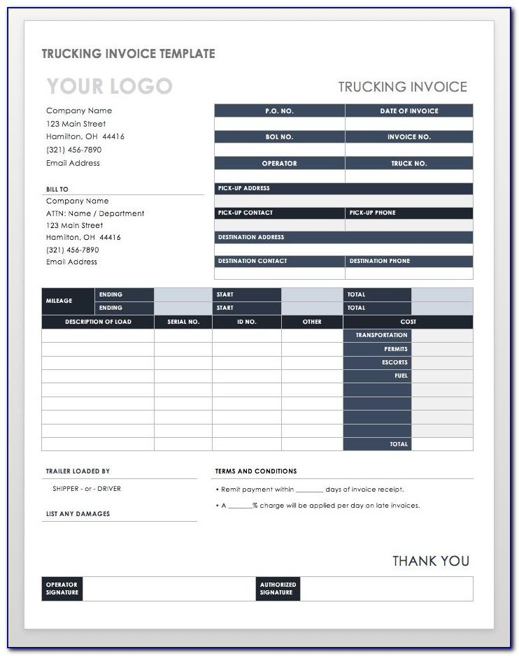 Free Trucking Company Invoice Template