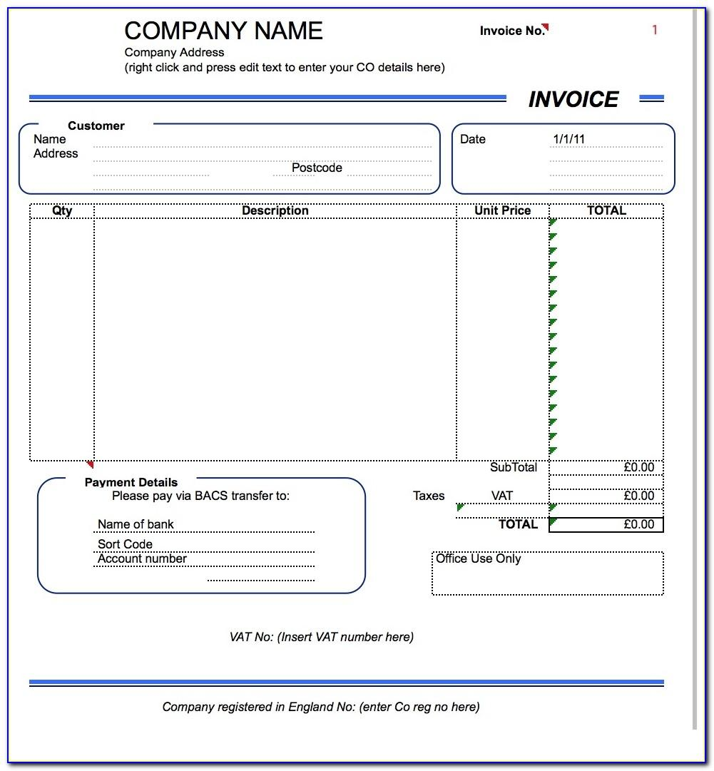 Free Uk Vat Invoice Template Excel