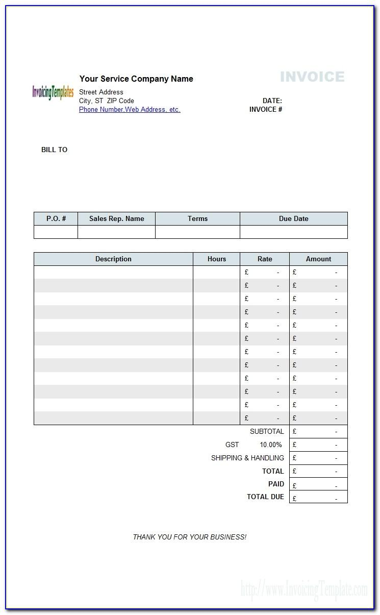 Free Uk Vat Invoice Template
