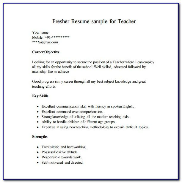 Fresher Teacher Resume Format Word