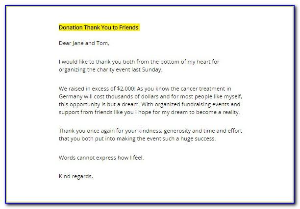 Fundraising Thank You Letter Template