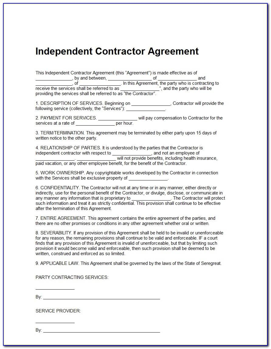 Independent Contractor Template Contract
