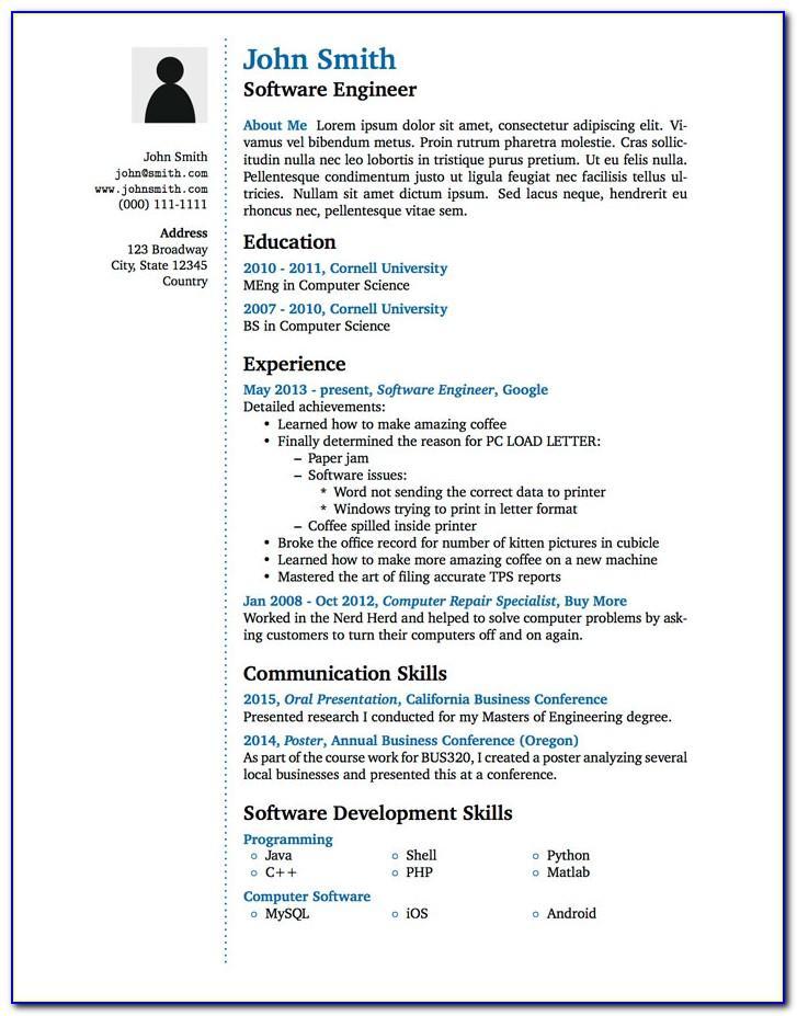 Indesign Templates Curriculum Vitae