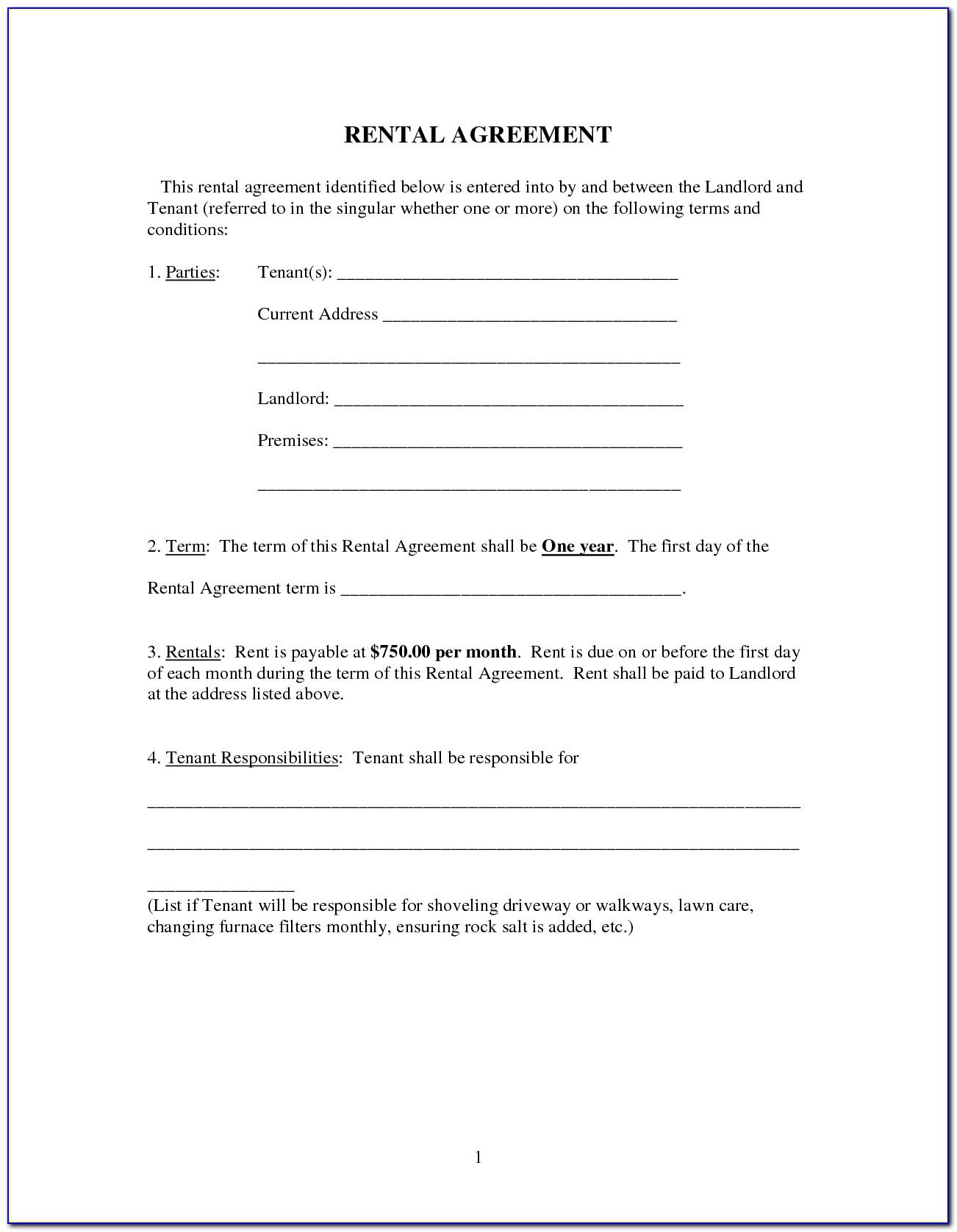 Landlord Tenant Lease Agreement Form Ny