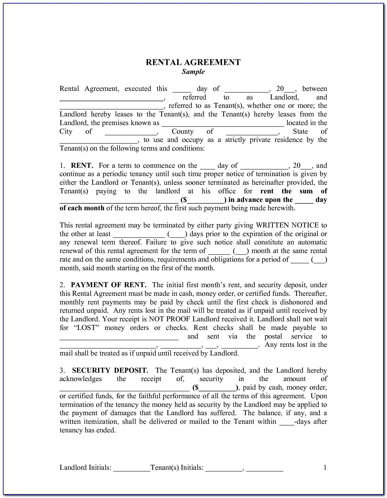 Landlord Tenant Rental Agreement Form Ontario