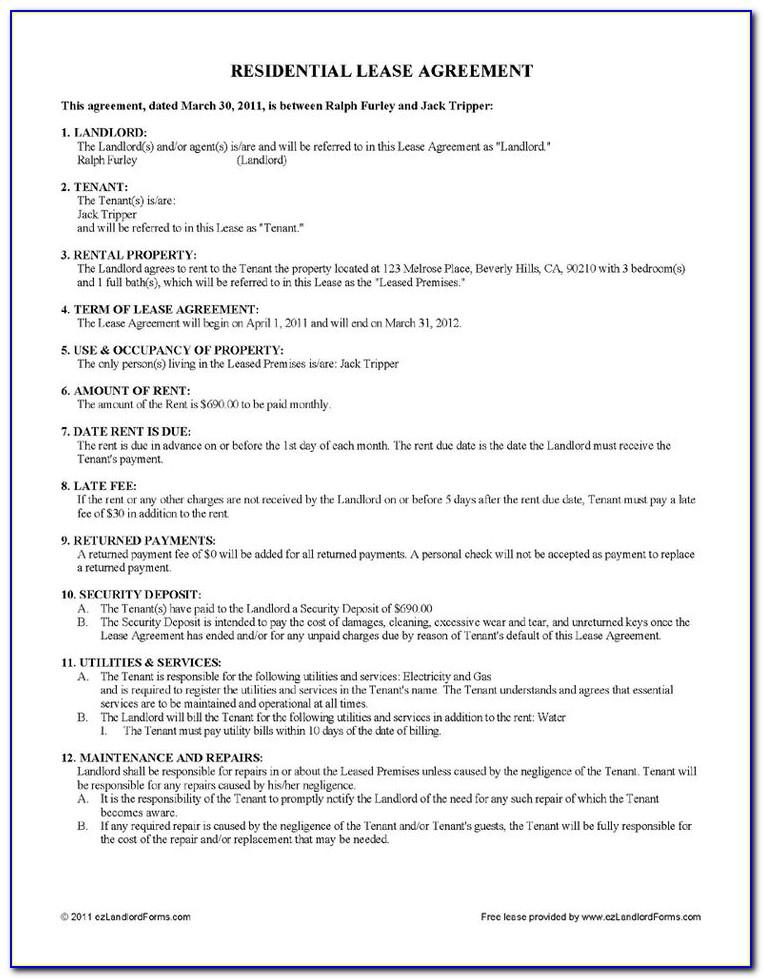 Landlord Tenant Rental Agreement Template