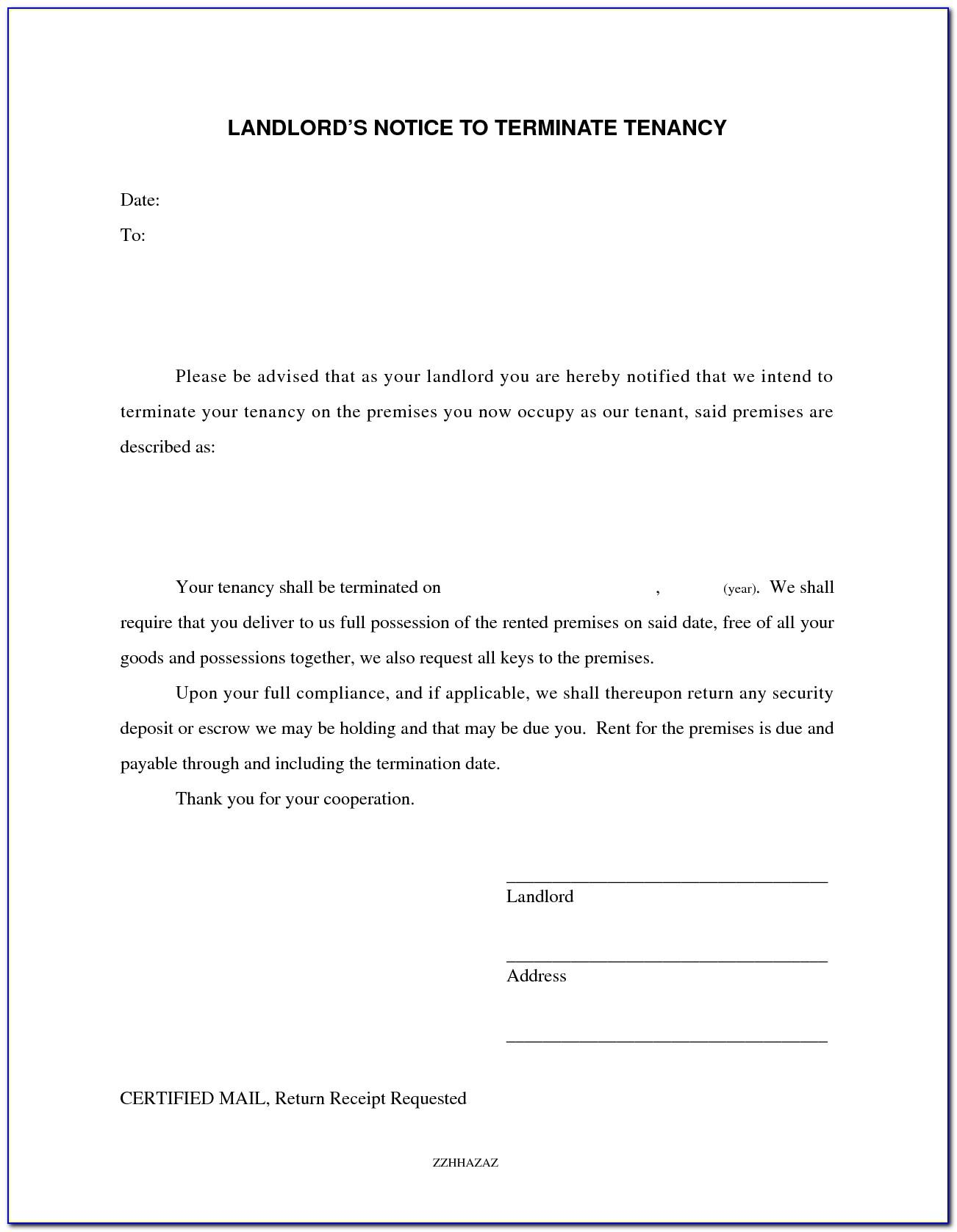 Landlord Termination Of Tenancy Letter Template Uk
