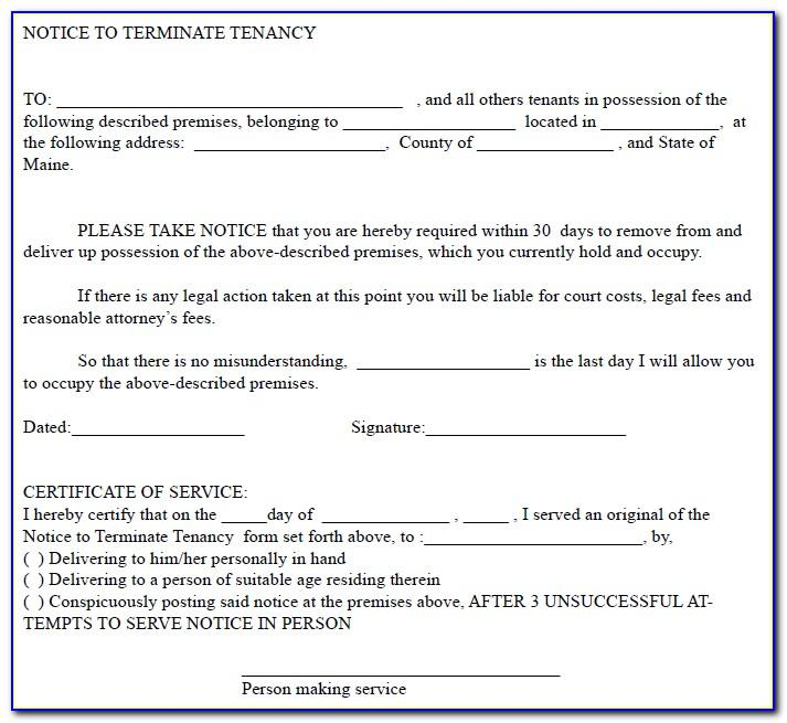 Landlord To Tenant 30 Day Notice To Vacate Form Florida