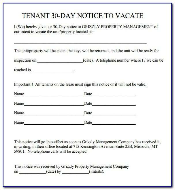 Landlord To Tenant 30 Day Notice To Vacate Template