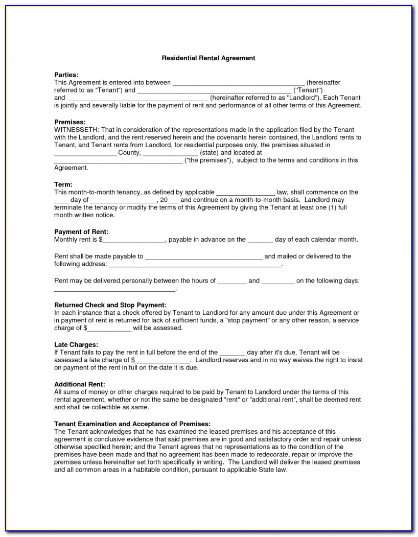 Lease Agreement Template South Africa Word