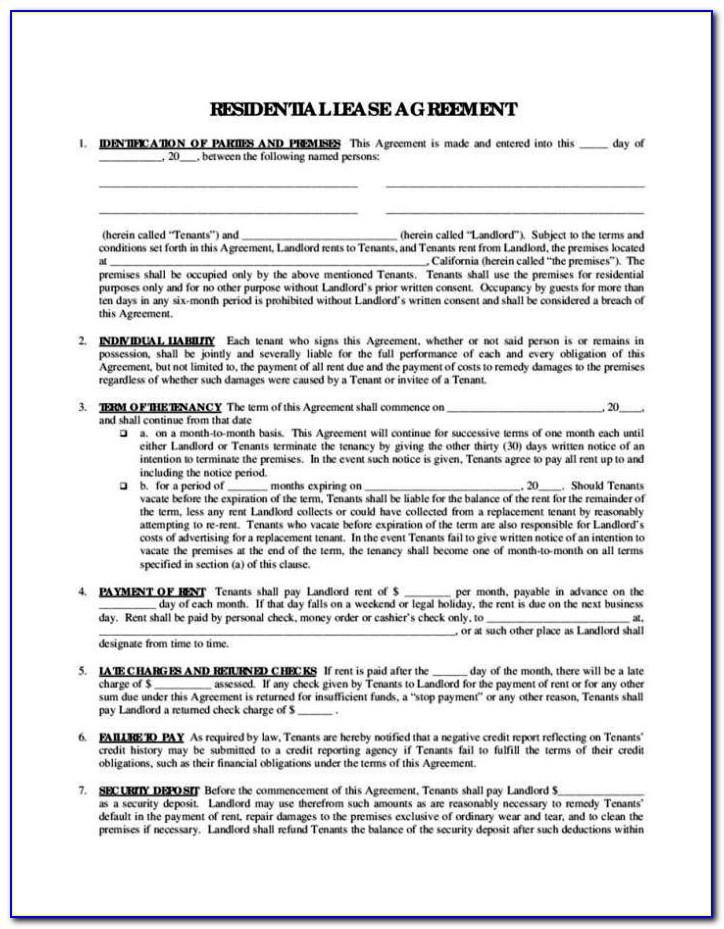 Lease Agreement Template Word Doc