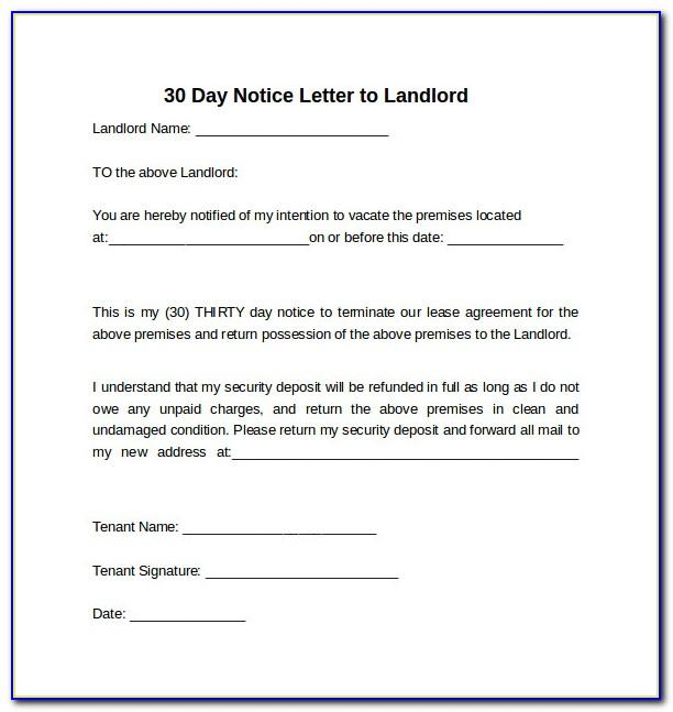 Letter Template 30 Days Notice Landlord