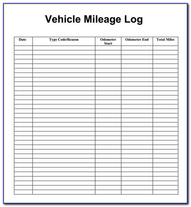 Log Book Template For Mileage