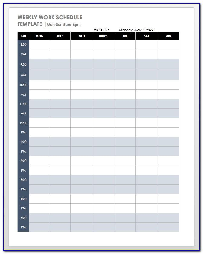 Monthly Time Schedule Template Excel