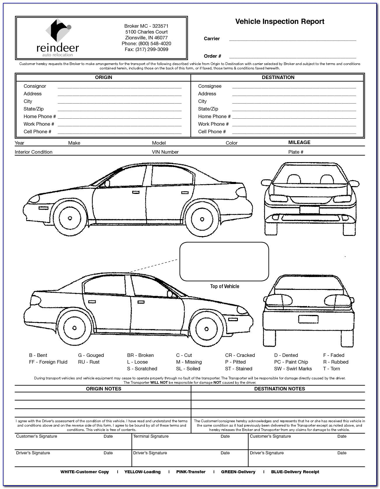 Motor Vehicle Inspection Report Form Download