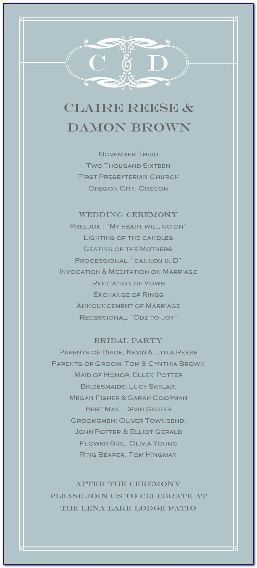 Non Traditional Wedding Program Examples