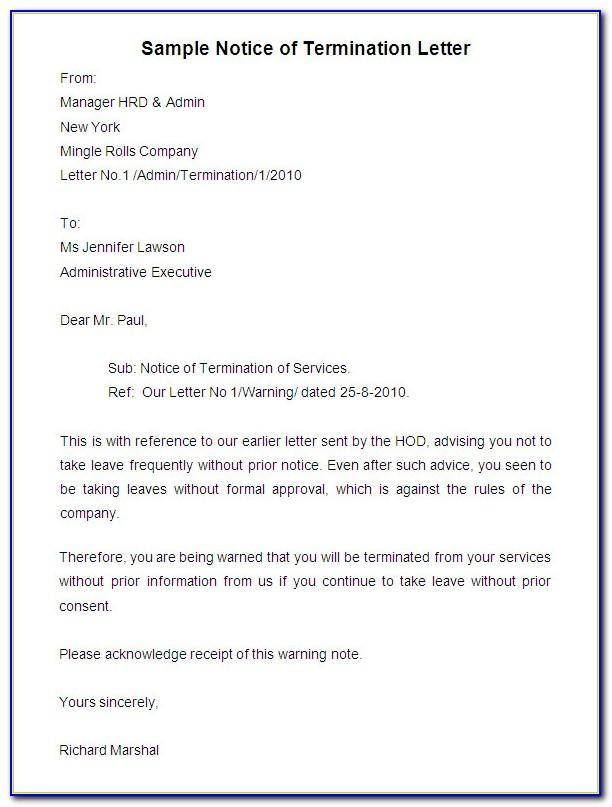 Notice Of Termination Of Employment Contract Letter