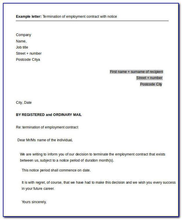 Notice Of Termination Of Employment Letter Uk Sample