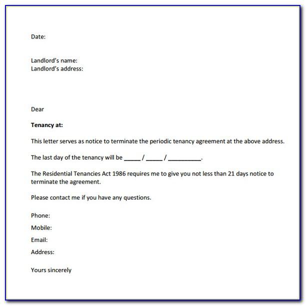 Notice To Vacate Property Letter Template