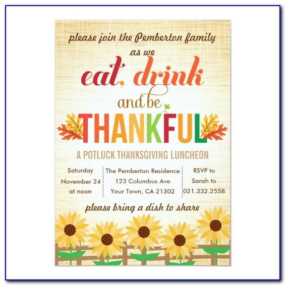 Office Thanksgiving Potluck Invitation Template