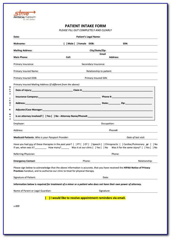 Physical Therapy Intake Form Sample