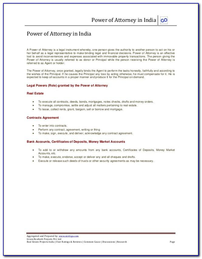 Power Of Attorney Form For Real Estate Closing In Florida