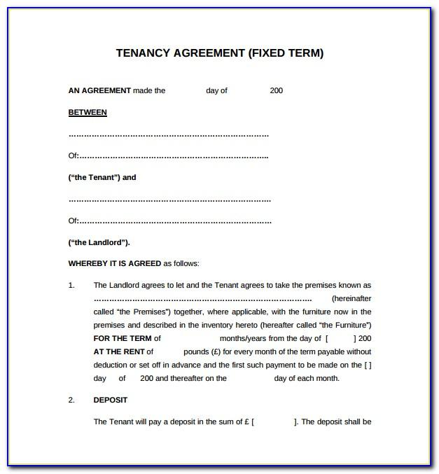 Pre Tenancy Application Form Template
