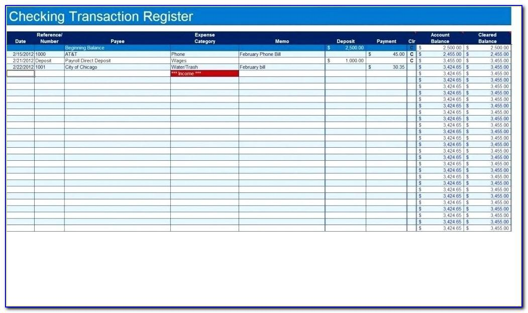 Printable Check Register Template Excel