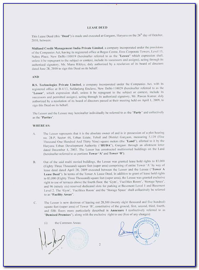 Private Trust Deed Format India