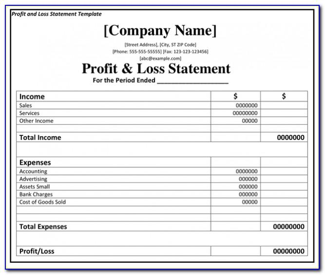 Profit And Loss Statement Template For Construction Business