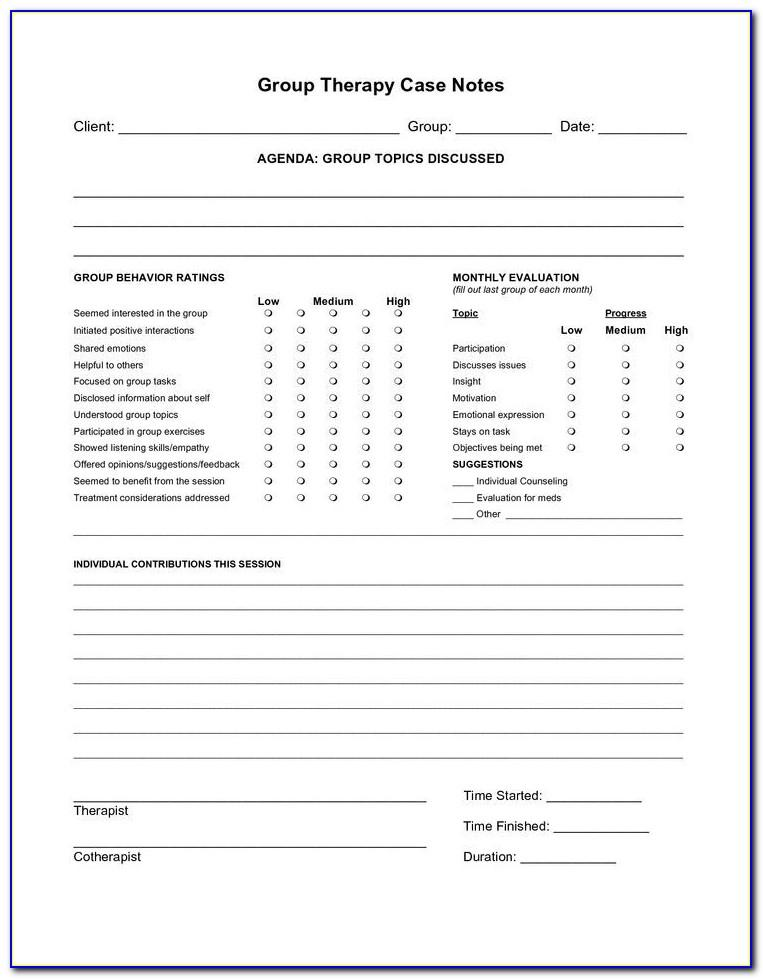 Psychologist Progress Notes Template